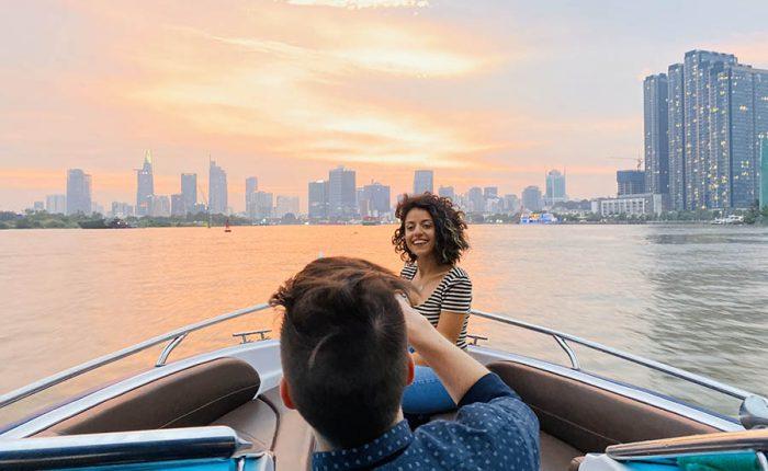 sunset cocktail on saigon river